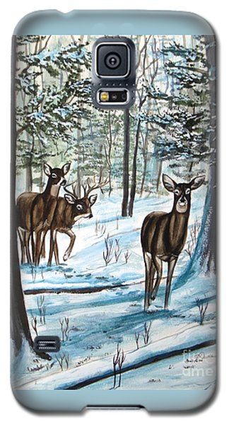 Galaxy S5 Case featuring the painting White Tail Deer In Winter by Patricia L Davidson