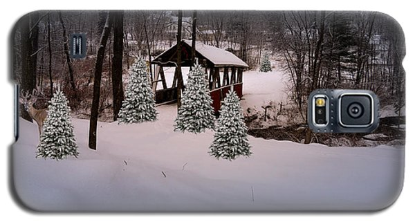 White Tailed Buck At Belmont N H Covered Bridge Galaxy S5 Case by Mim White