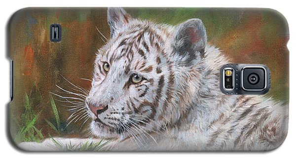 Galaxy S5 Case featuring the painting White Tiger Cub 2 by David Stribbling