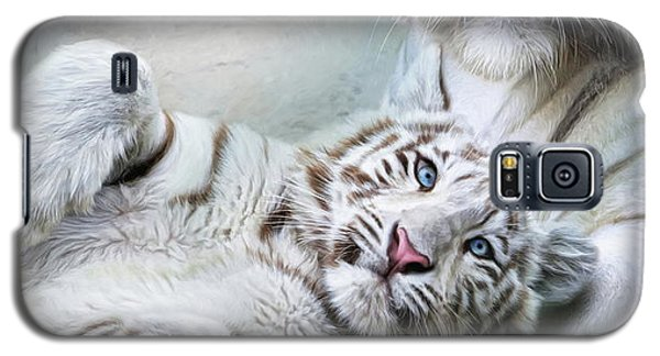 Galaxy S5 Case featuring the digital art  White Tiger by Trudi Simmonds