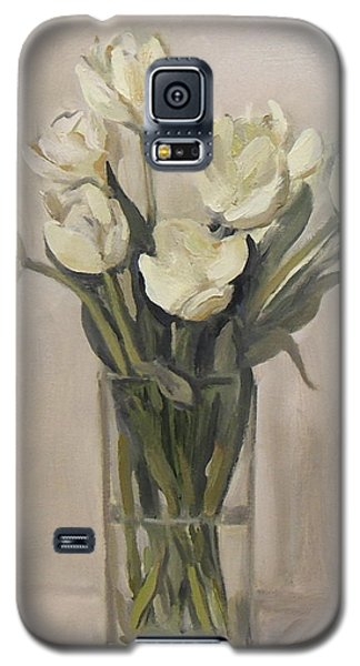 White Tulips In Rectangular Glass Vase Galaxy S5 Case