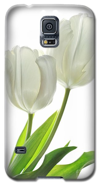 Galaxy S5 Case featuring the photograph White Tulips With Leaf by Charline Xia