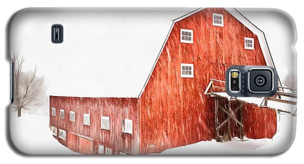 Galaxy S5 Case featuring the painting Whiteout On The Farm Blizzard Stella by Edward Fielding