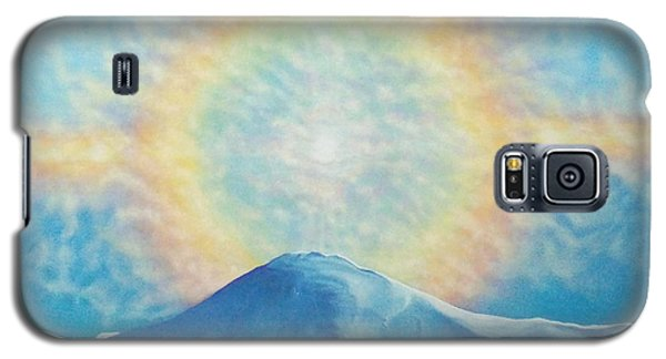 Galaxy S5 Case featuring the painting Who Makes The Clouds His Chariot Fire Rainbow Over Alberta Peak by Anastasia Savage Ealy