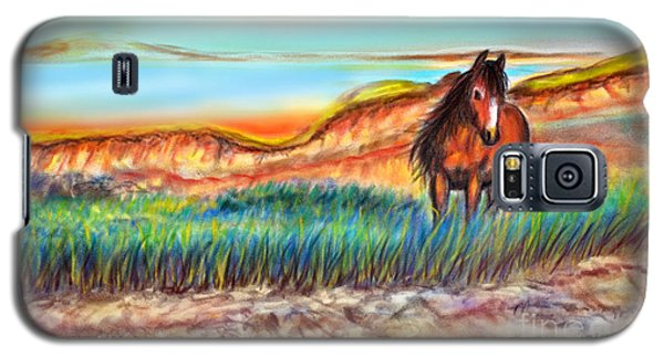 Galaxy S5 Case featuring the painting Wild And Free Sable Island Horse by Patricia L Davidson