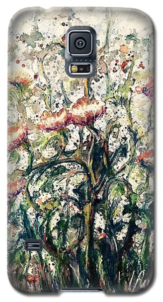 Galaxy S5 Case featuring the painting Wild Flowers # 2 by Laila Awad Jamaleldin