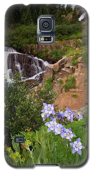 Galaxy S5 Case featuring the photograph Wild Flowers And Waterfalls by Steve Stuller