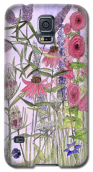 Galaxy S5 Case featuring the painting Wild Garden Flowers by Laurie Rohner