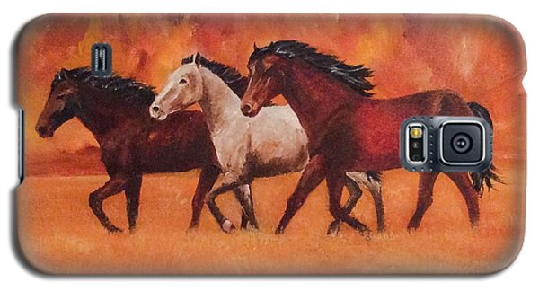 Galaxy S5 Case featuring the painting Wild Horses by Ellen Canfield