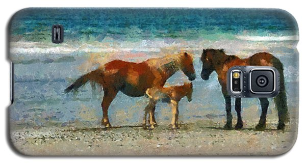 Wild Horses Of The Outer Banks Galaxy S5 Case by Lynne Jenkins