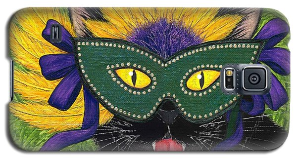 Galaxy S5 Case featuring the painting Wild Mardi Gras Cat by Carrie Hawks