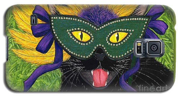 Wild Mardi Gras Cat Galaxy S5 Case by Carrie Hawks