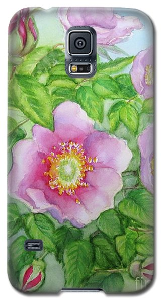 Galaxy S5 Case featuring the painting Wild Rose 3 by Inese Poga
