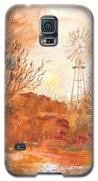 Galaxy S5 Case featuring the painting Wilderness Windmill by Sharon Mick
