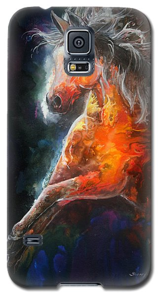 Galaxy S5 Case featuring the painting Wildfire Fire Horse by Sherry Shipley