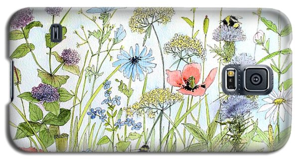 Galaxy S5 Case featuring the painting Wildflower And Bees by Laurie Rohner