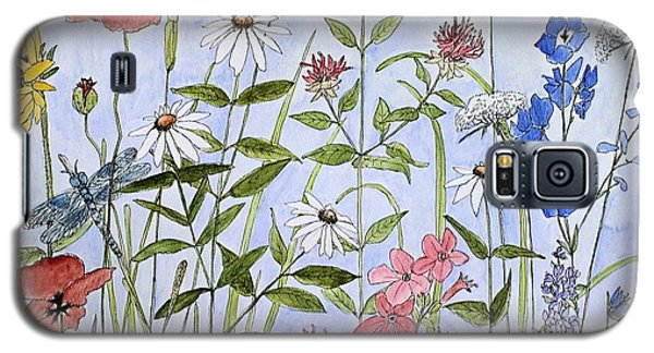 Galaxy S5 Case featuring the painting Wildflower And Blue Sky by Laurie Rohner