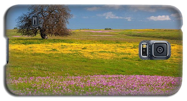 Galaxy S5 Case featuring the photograph Wildflowers And Oak Tree - Spring In Central California by Ram Vasudev