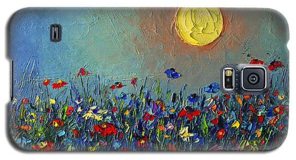 Wildflowers Meadow Sunrise Modern Floral Original Palette Knife Oil Painting By Ana Maria Edulescu Galaxy S5 Case