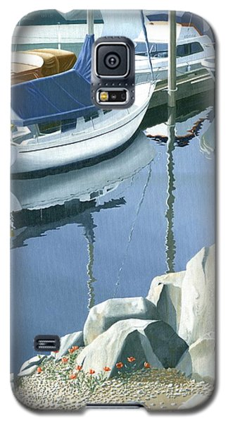 Galaxy S5 Case featuring the painting Wildflowers On The Breakwater by Gary Giacomelli