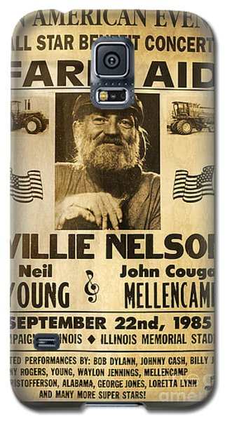Willie Nelson Neil Young 1985 Farm Aid Poster Galaxy S5 Case by John Stephens