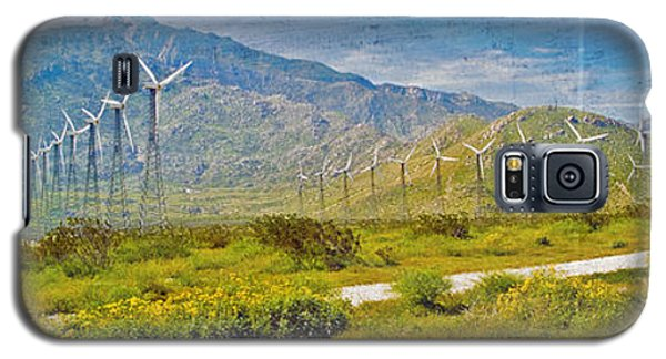 Galaxy S5 Case featuring the photograph Wind Turbine Farm Palm Springs Ca by David Zanzinger