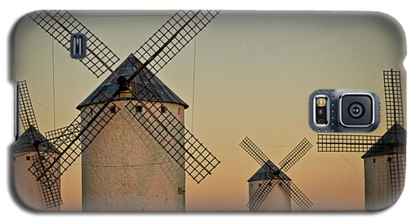 Galaxy S5 Case featuring the photograph Windmills In Golden Light by Heiko Koehrer-Wagner