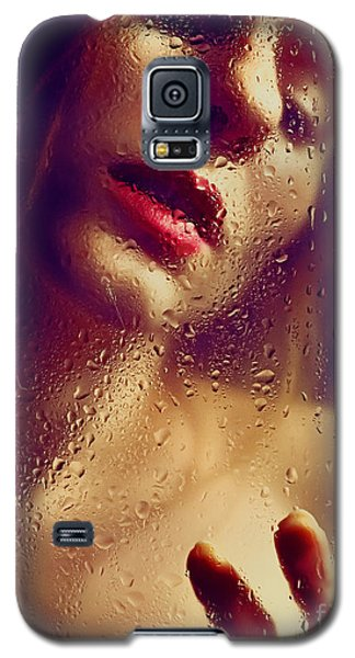 Window -  Sensual Woman Portrait Behind A Rainy Window Galaxy S5 Case