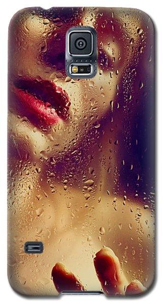 Window -  Sensual Woman Portrait Behind A Rainy Window Galaxy S5 Case