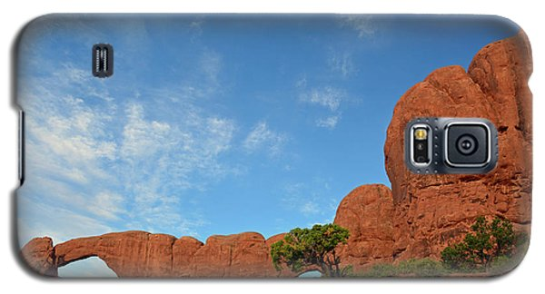 Galaxy S5 Case featuring the photograph Windows Arches With Wispy Clouds by Bruce Gourley