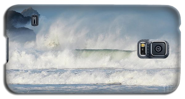 Galaxy S5 Case featuring the photograph Windy Seas In Cornwall by Nicholas Burningham