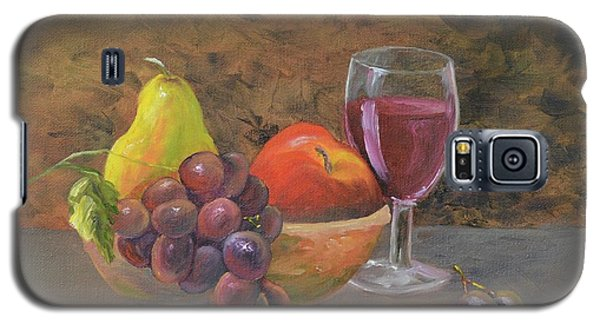 Galaxy S5 Case featuring the painting Wine And Fruit by Mary Scott