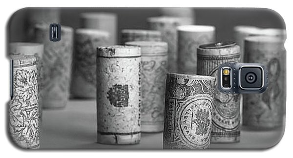 Galaxy S5 Case featuring the photograph Wine Cork Panorama In Black And White by Tom Mc Nemar