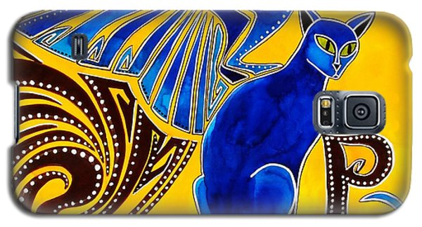 Galaxy S5 Case featuring the painting Winged Feline - Cat Art With Letter P By Dora Hathazi Mendes by Dora Hathazi Mendes