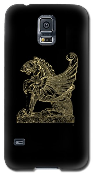 Galaxy S5 Case featuring the digital art Winged Lion Chimera From Casa San Isidora, Santiago, Chile, In Gold On Black by Serge Averbukh