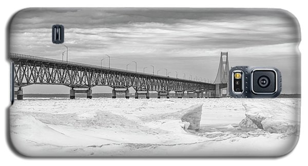 Galaxy S5 Case featuring the photograph Winter At Mackinac Bridge by John McGraw