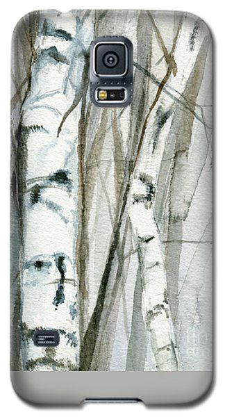 Galaxy S5 Case featuring the painting Winter Birch by Laurie Rohner