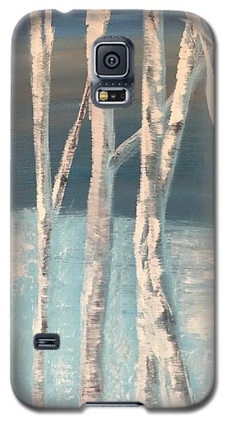 Galaxy S5 Case featuring the painting Winter Birches by Paula Brown