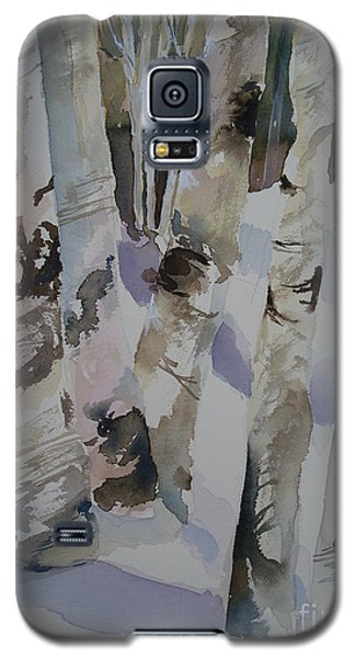 Galaxy S5 Case featuring the painting Winter Birches by Sandra Strohschein