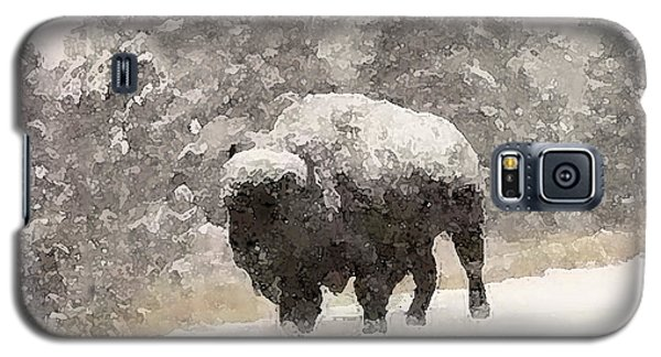 Galaxy S5 Case featuring the digital art Winter Bison by Walter Chamberlain