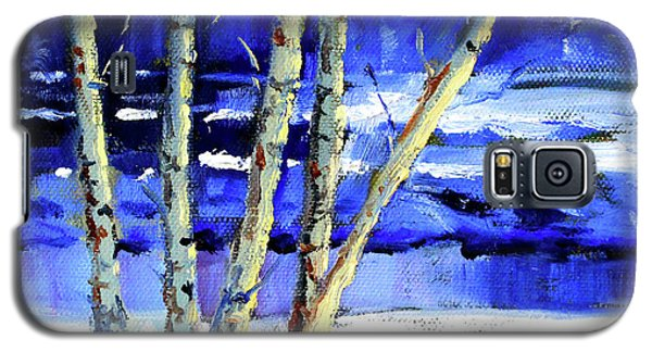 Galaxy S5 Case featuring the painting Winter By The River by Nancy Merkle