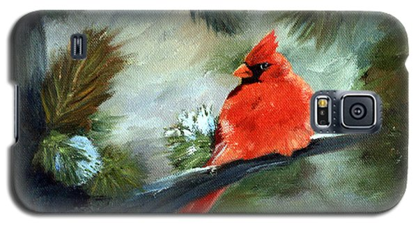 Galaxy S5 Case featuring the painting Winter Cardinal by Brenda Thour