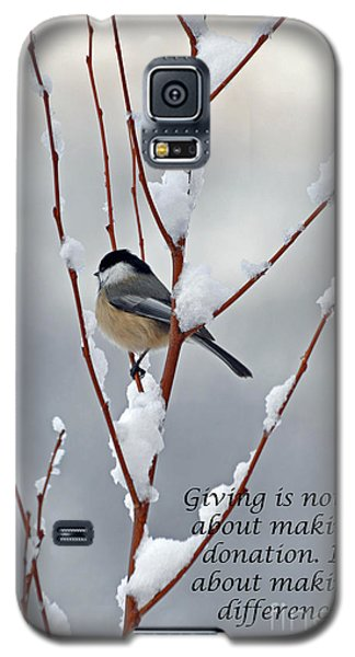 Galaxy S5 Case featuring the photograph Winter Chickadee Giving by Diane E Berry