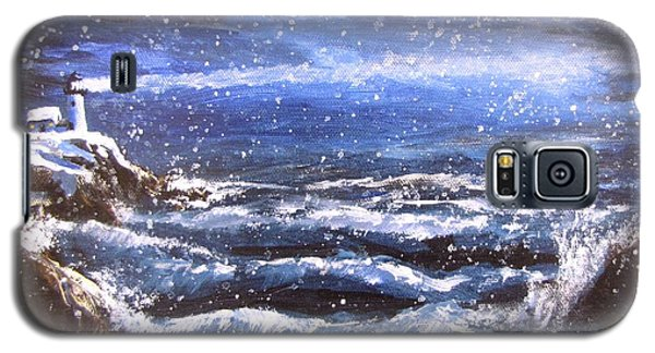 Galaxy S5 Case featuring the painting Winter Coastal Storm by Jack Skinner