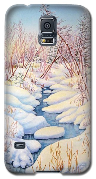Galaxy S5 Case featuring the painting Winter Creek 1  by Inese Poga