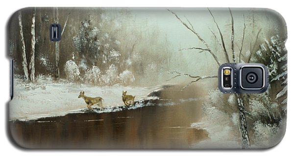 Galaxy S5 Case featuring the painting Winter Deer Run by Chris Fraser