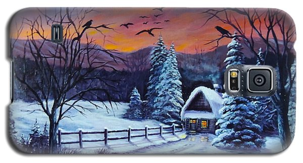 Galaxy S5 Case featuring the painting Winter Evening 2 by Bozena Zajaczkowska