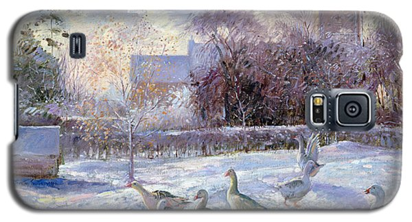 Winter Geese In Church Meadow Galaxy S5 Case by Timothy Easton
