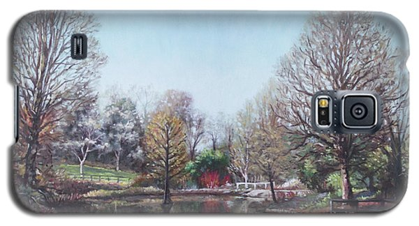 Galaxy S5 Case featuring the painting Winter Hilliers Garden Hampshire by Martin Davey