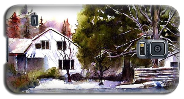Galaxy S5 Case featuring the painting Winter Homestead by Marti Green